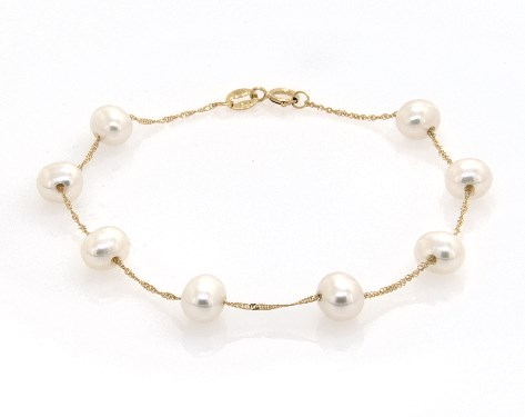 14K Yellow Gold Freshwater Cultured Pearl Station Chain Bracelet (6.0-6.5mm)