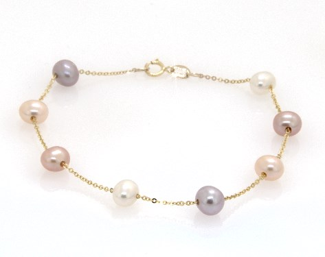 14K Yellow Gold Multicolor Freshwater Cultured Pearl Station Chain Bracelet (5.5-6.0mm)