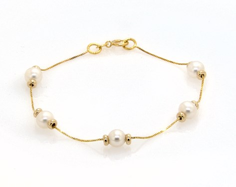 14K Yellow Gold Freshwater Cultured Pearl Station Chain Bracelet (5.5-6.0mm)