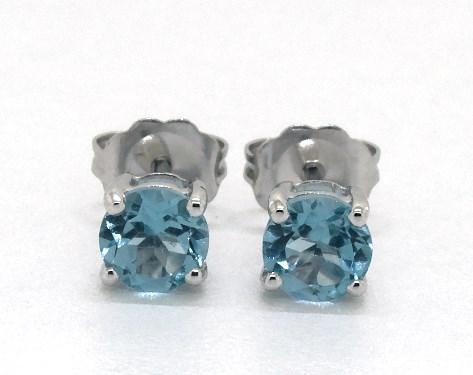 14K White Gold Blue Topaz Birthstone Earrings (5mm)