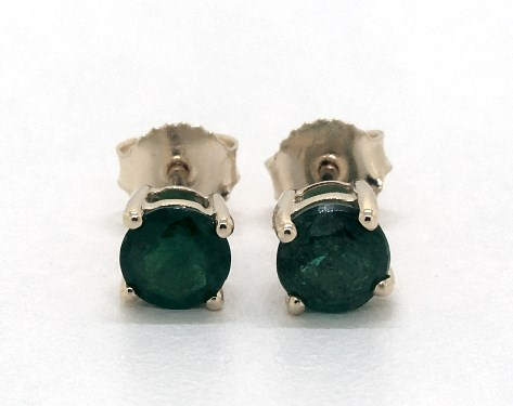 14K Yellow Gold Emerald Birthstone Earrings (5mm)