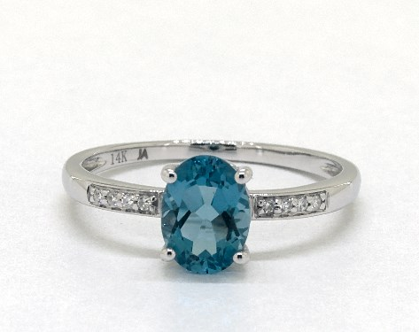 14K White Gold Blue Topaz and Diamond Pave Birthstone Ring (8.0x6.0mm)