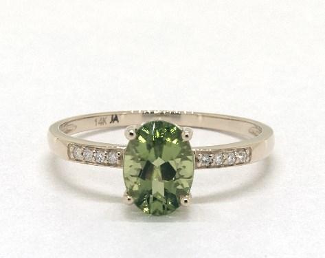 14K Yellow Gold Peridot and Diamond Pave Birthstone Ring (8.0x6.0mm)
