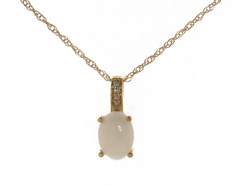 14K Yellow Gold Opal and Diamond Bail Birthstone Necklace (8.0x6.0mm)