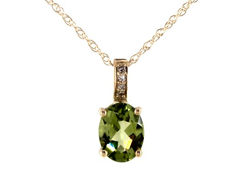 14K Yellow Gold Peridot and Diamond Bail Birthstone Necklace (8.0x6.0mm)