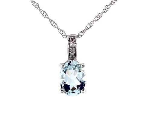 14K White Gold Aquamarine and Diamond Bail Birthstone Necklace (8.0x6.0mm)