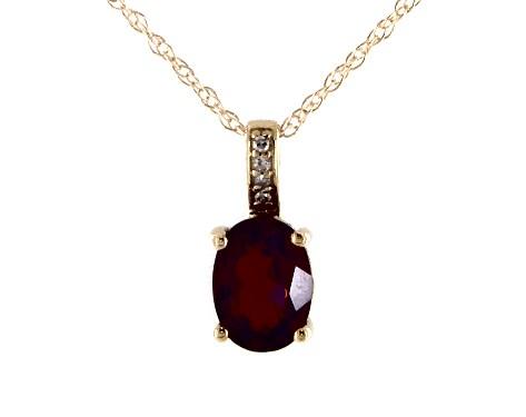 14K Yellow Gold Garnet and Diamond Bail Birthstone Necklace (8.0x6.0mm)