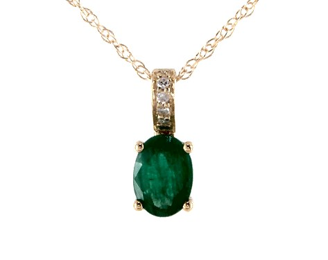 14K Yellow Gold Emerald and Diamond Bail Birthstone Necklace (7.0x5.0mm)