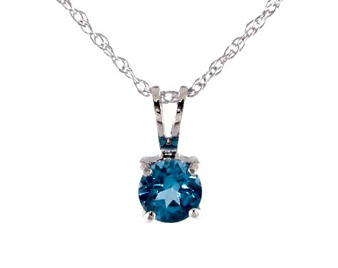 14K White Gold Blue Topaz Birthstone Pendant (5mm)