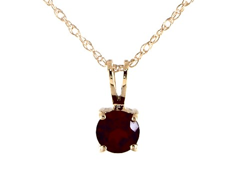 14K Yellow Gold Garnet Birthstone Pendant (5.0mm)