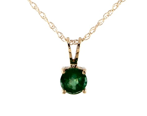 14K Yellow Gold Emerald Birthstone Pendant (5mm)