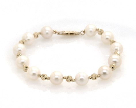 14K Yellow Gold Freshwater Cultured Pearl and Textured Bead Bracelet (7.5-8.0mm)