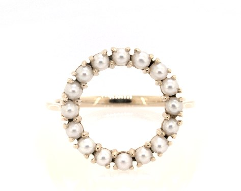 14K Yellow Gold Freshwater Cultured Seed Pearl Open Circle Ring (2.0mm)