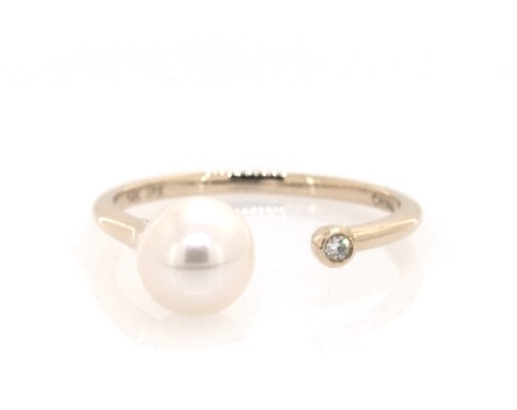 14K Yellow Gold Petite Open Freshwater Cultured Pearl and Diamond Ring (6.5-7.0mm)