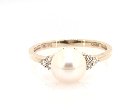 14K Yellow Gold Freshwater Pearl and Diamond Trio Ring (7.5-8.0mm)