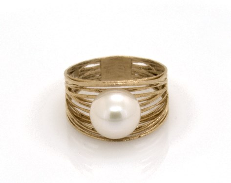 Textured Basket Freshwater Cultured Pearl Ring by James Allen