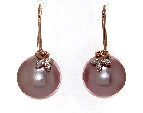 14K Rose Gold Pink Freshwater Cultured Pearl and Diamond Trio Leaf Drop Earrings (13.0-14.0mm)
