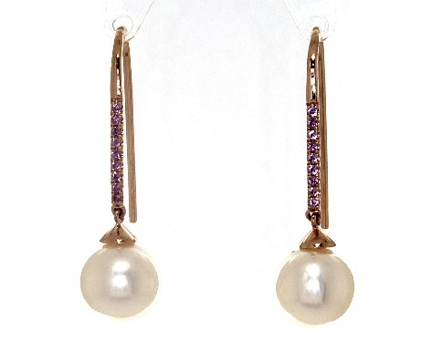 14K Rose Gold Freshwater Cultured Pearl and Amethyst Drop Earrings (8.0-8.5mm)