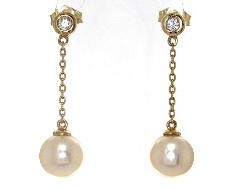 14K Yellow Gold Freshwater Pearl and Bezel Set Diamond Drop Earrings (8.0-8.5mm)