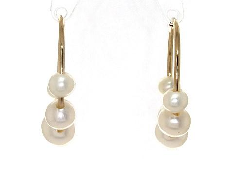 6396d53dd341fc earrings, pearl earrings, 14k yellow gold graduated freshwater cultured  pearl hoop earrings 40 65mm item 64770