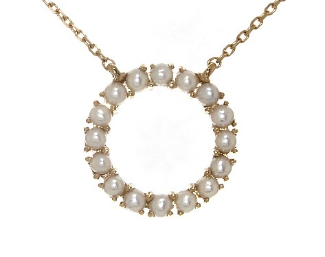 14K Yellow Gold Freshwater Cultured Seed Pearl Open Circle Necklace (2.0mm)