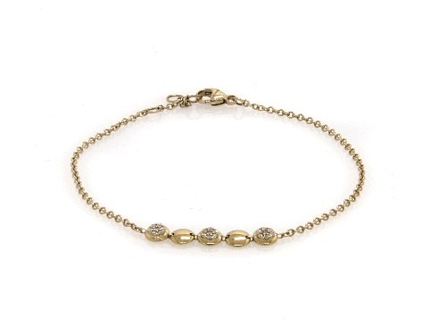 14K Yellow Gold Alternating Diamond Disc Chain Bracelet