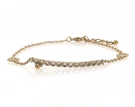 14K Yellow Gold Open Circle Detail Diamond Bar Chain Bracelet