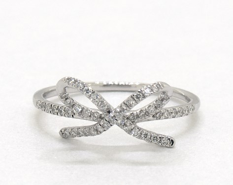 14K White Gold Diamond Bow Ring