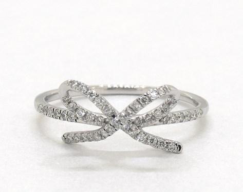 8d3f22925dd910 fashion rings, diamond rings, 14k white gold diamond bow ring item 64797