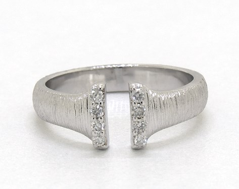 14K White Gold Textured Open Diamond Ring