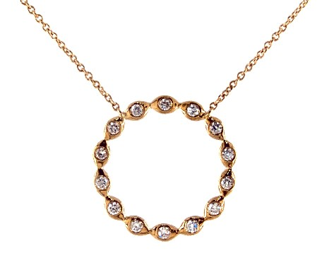 14K Yellow Gold Marquise Motif Open Circle Diamond Necklace