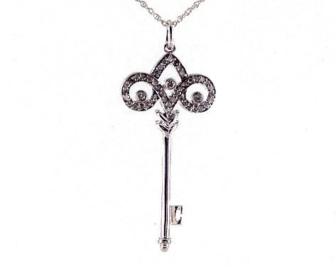 14K White Gold Diamond Scroll Key Necklace
