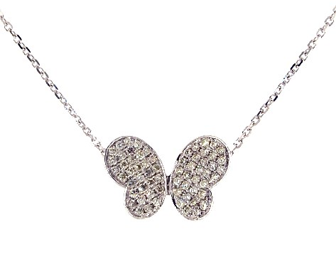 14K White Gold Modern Butterfly Diamond Necklace