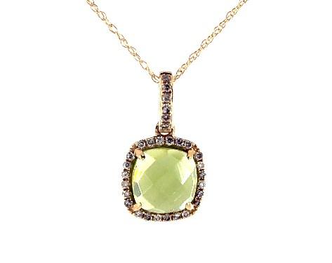 14k Yellow Gold Cushion Halo Peridot and Diamond Necklace  (7.0x7.0mm)