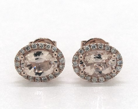 14K Rose Gold Oval Halo Morganite and Diamond Stud Earrings (7x5mm)