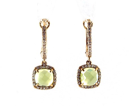 14k Yellow Gold Cushion Halo Peridot and Diamond Drop Earrings (6.0x6.0mm)