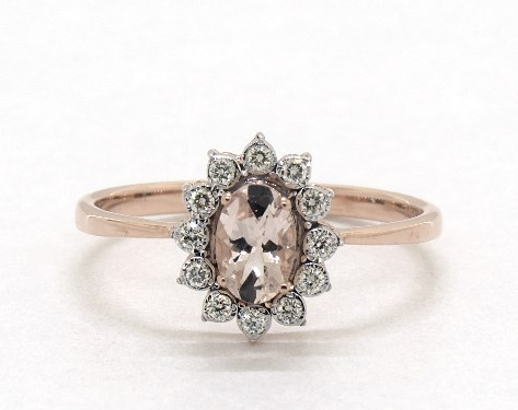 14K Rose Gold  Oval Halo Morganite and Diamond Ring (6.0x4.0mm)