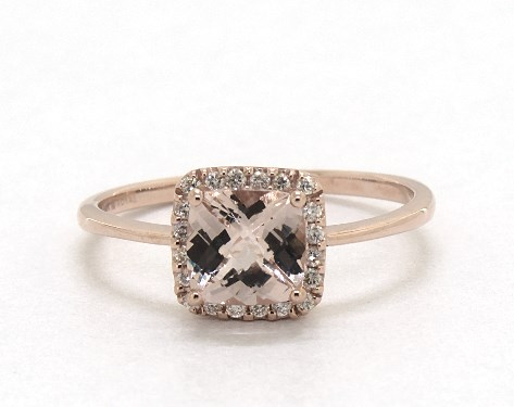 14k Rose Gold Cushion Halo Morganite And Diamond Ring 6 0x6 0mm