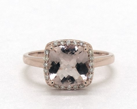 14K Rose Gold Cushion Halo Morganite and Diamond Ring (8.0x8.0mm)