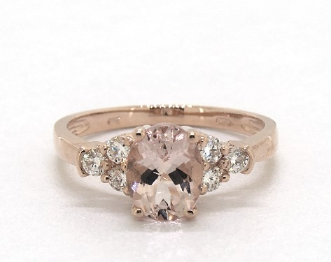 14K Rose Gold Triple Round Diamond and Oval Morganite Ring (8.0x6.0mm)