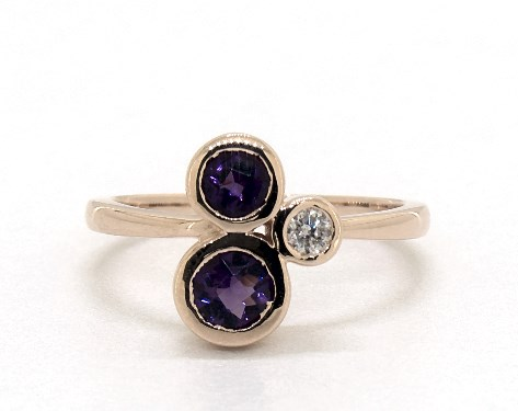 14K Rose Gold Round Trio Bezel Set Amethyst and Diamond Ring