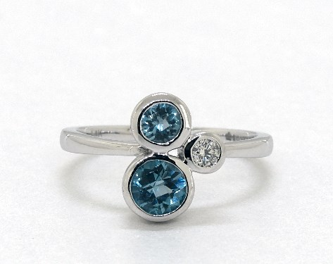 14K White Gold Round Trio Bezel Set Blue Topaz and Diamond Ring