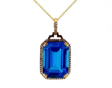18K Yellow Gold Emerald Cut Blue Topaz and Diamond Necklace (15.0x20.0mm)