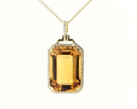 18K Yellow Gold Emerald Cut Citrine and Diamond Necklace (15.0x20.0mm)