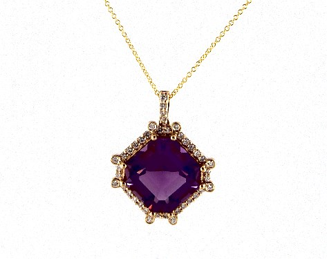 18K Yellow Gold Octogan Amethyst and Diamond Necklace (12.0x12.0mm)