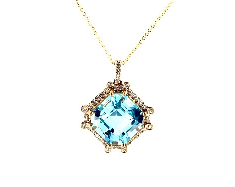 18K Yellow Gold Octogan Blue Topaz and Diamond Necklace (12.0x12.0mm)