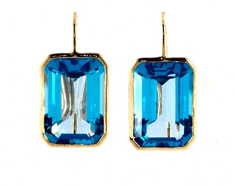 18k Yellow Gold Emerald Cut Blue Topaz Drop Earrings 15 0x10 0mm