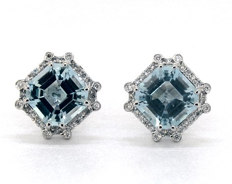 18K White Gold Octogan Blue Topaz and Diamond Earrings  (9.0x9.0mm)