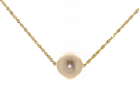 14K Yellow Gold Freshwater Cultured Pearl Necklace (8.5-9.0mm)