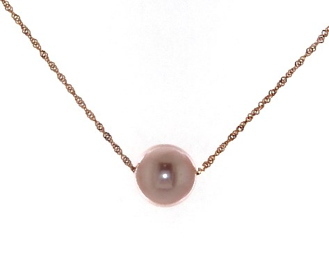 14K Rose Gold Freshwater Cultured Pearl Necklace (8.5-9.0mm)